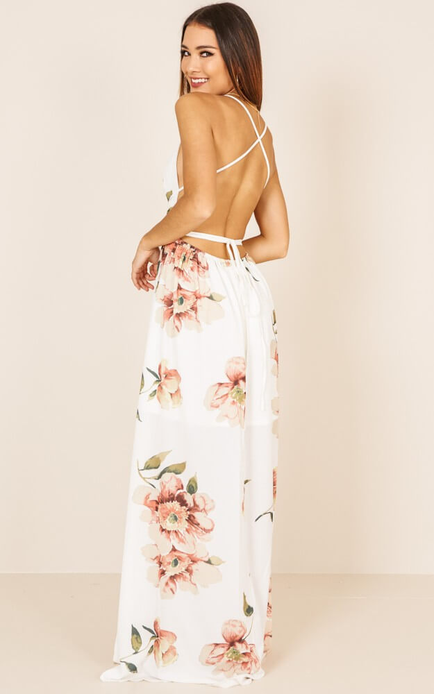 Spaghetti Straps Deep V-neck Backless Split Irregular Long Dress