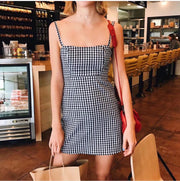New Small Squares Condole Belt Sexy Mini Bodycon Dress