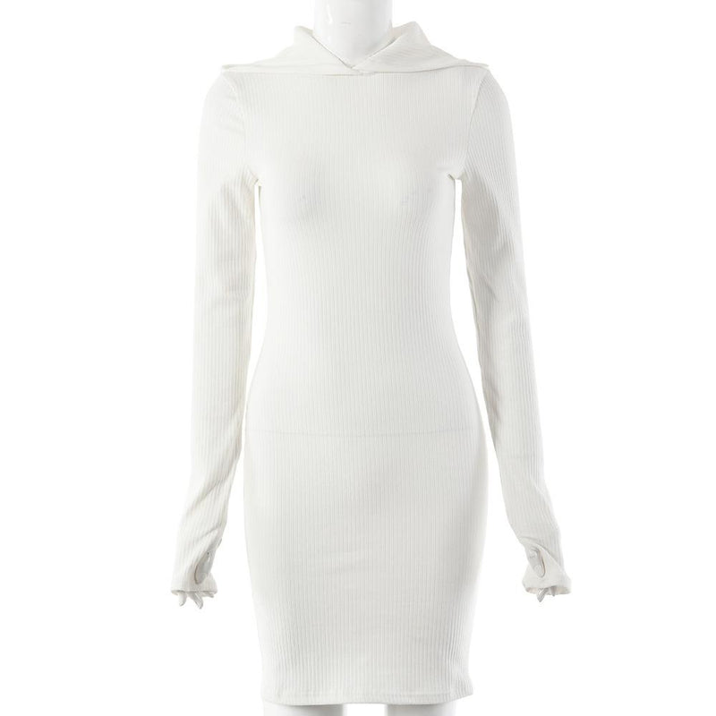 Long Sleeve Hooded slim Dress