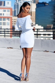 Sexy Off Shoulder Short Pure Color Drawstring fold Long Sleeve Bodycon Dress