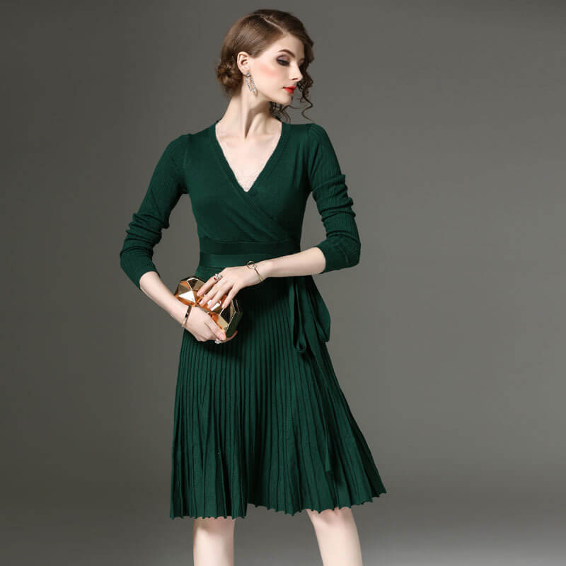 Pure Color V-neck Long Sleeves Knee-length Fashion Dress