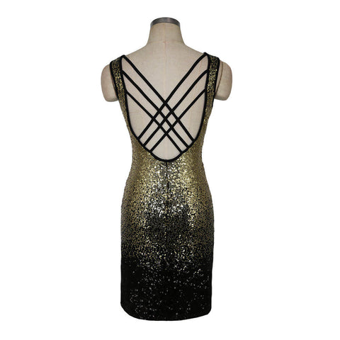 Deep V-neck Sleeveless Backless Sexy Club Bodycon Sequined Dress