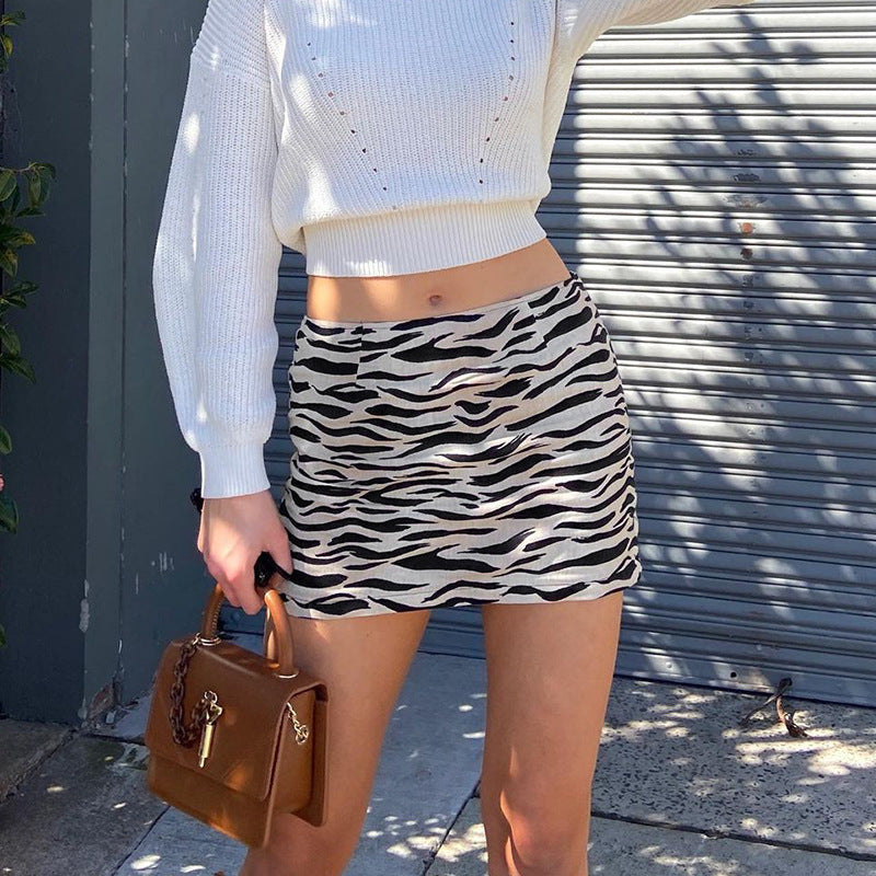 Animal pattern black and white contrast elastic hip skirt