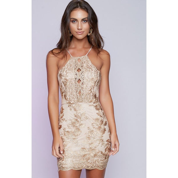 Bear Shoudler Spaghetti Straps Backless Lace Short Dress