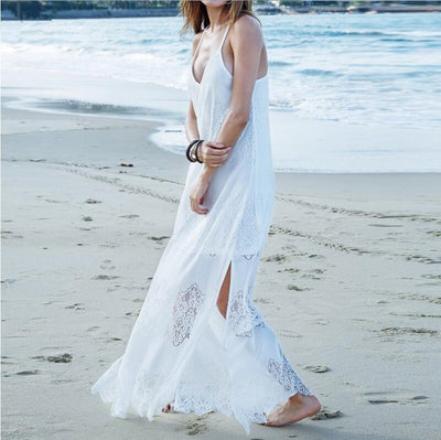 Sexy V-neck Straps High Waist Transparent Floor Length Long Dress