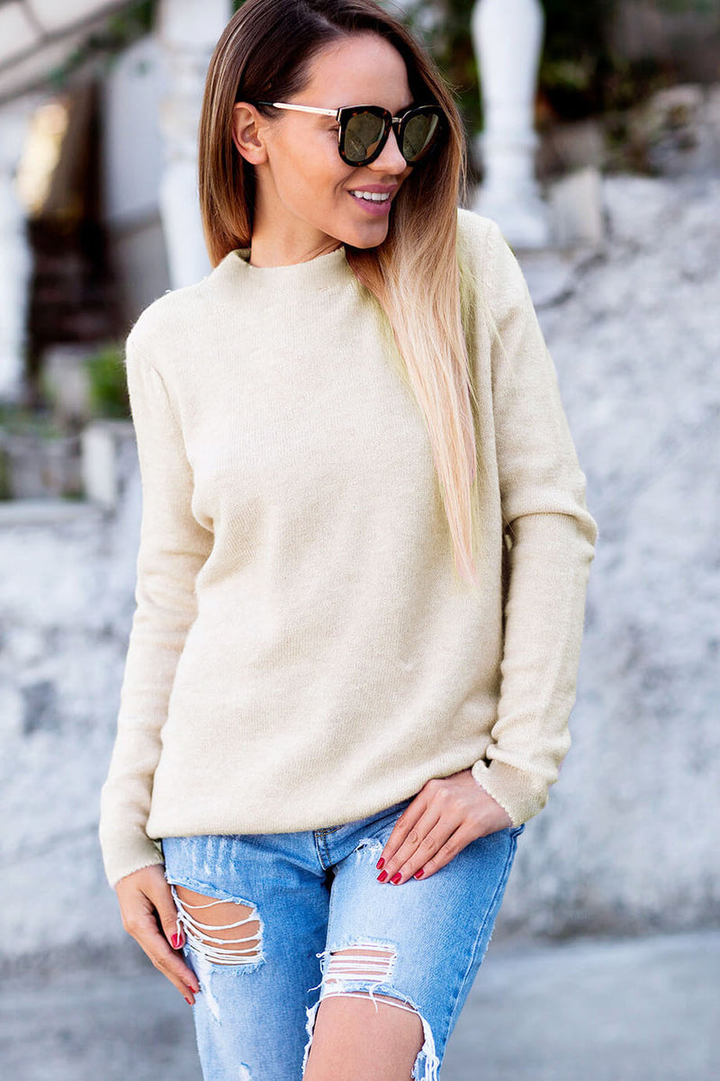 Deep V-neck Backless Loose Scoop Regular Sweater