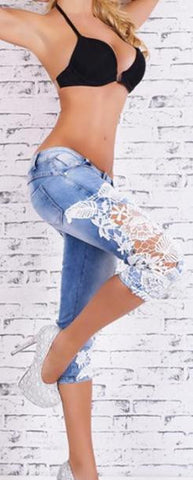 Frayed Lace Patchwork Slim Low Waist 1/2 Jeans - Meet Yours Fashion - 1