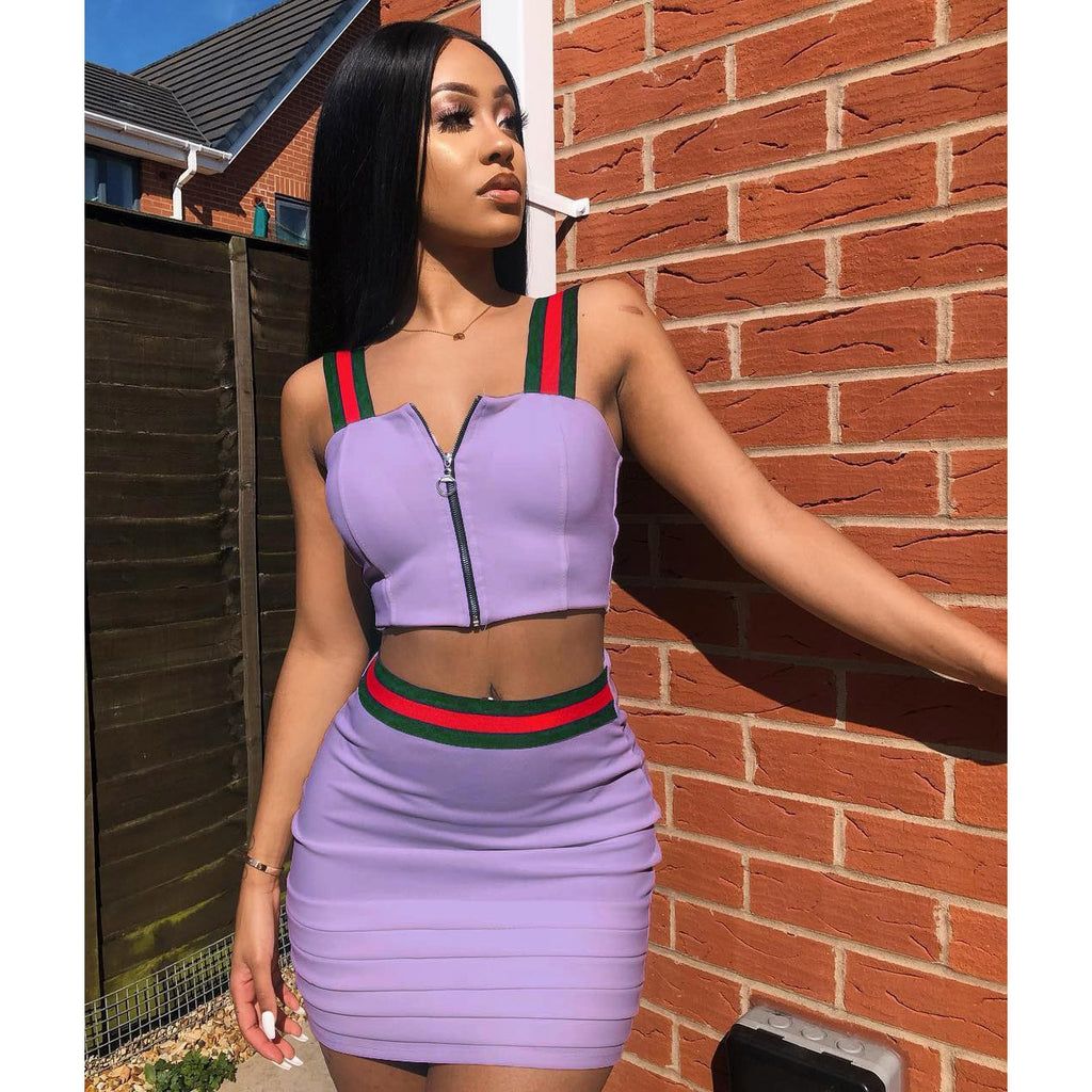 e198e2f7668 ... Straps Front Zipper Crop Top with High Waist Bodycon Short Skirt Two  Pieces Dress Set Outfits ...