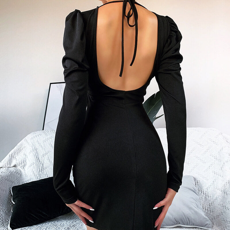 Black Backless Puff Sleeve Bodycon Strap Mini Dress