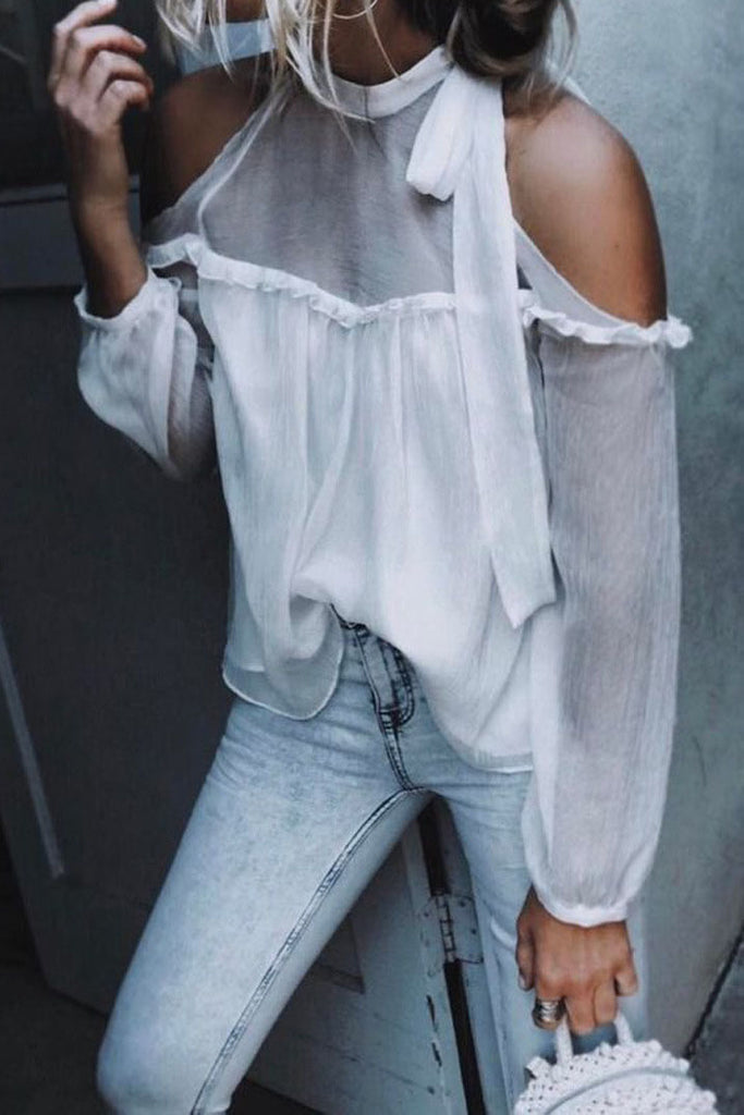 Bear Shoulder Straps Transparent Patchwork Loose Chiffon Blouse