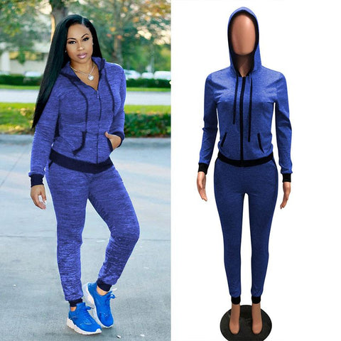 Slim Hoodie Long Pants Set