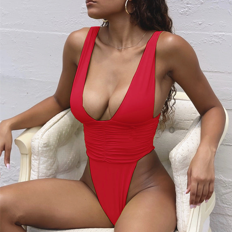 Sexy Plain V Neck Smocked High Cut Swimsuit