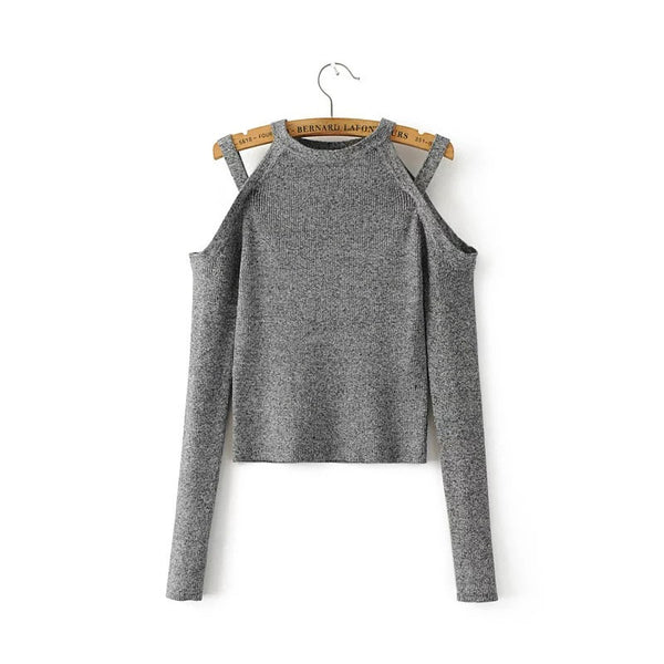Bear Shoudler Cut Out Long Sleeves Scoop Hollow Sweater
