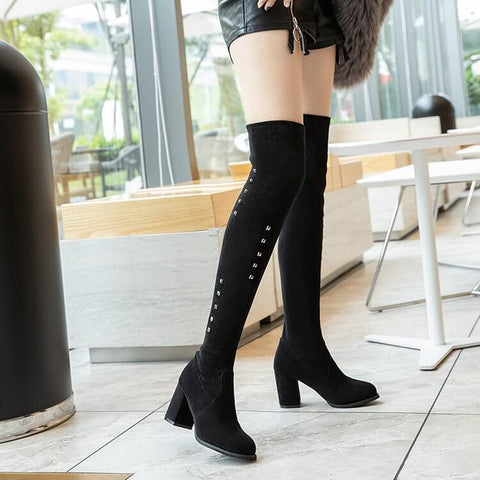 Black Over Knee High Heel Scrub Boots