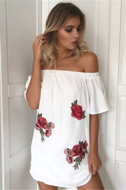 f817015b5dee Off Shoulder Flower Print Embroidery Short Dress – Meet Yours Fashion