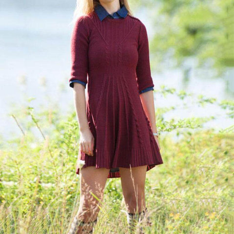 Cable Knitted Sweater A Line Dress