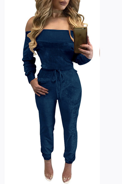 2017 Off Shoulder Long Sleeves Long Jumpsuit