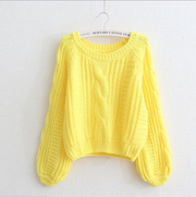 Cable Sleeve Coarse Yam Pure Color Pullover Sweater - Meet Yours Fashion - 6
