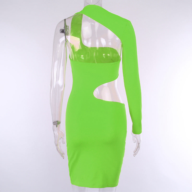 Bright Color Cutout Backless One Shoulder Bodycon Dress