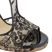 Black Lace Peep Toe Cutout Sandals