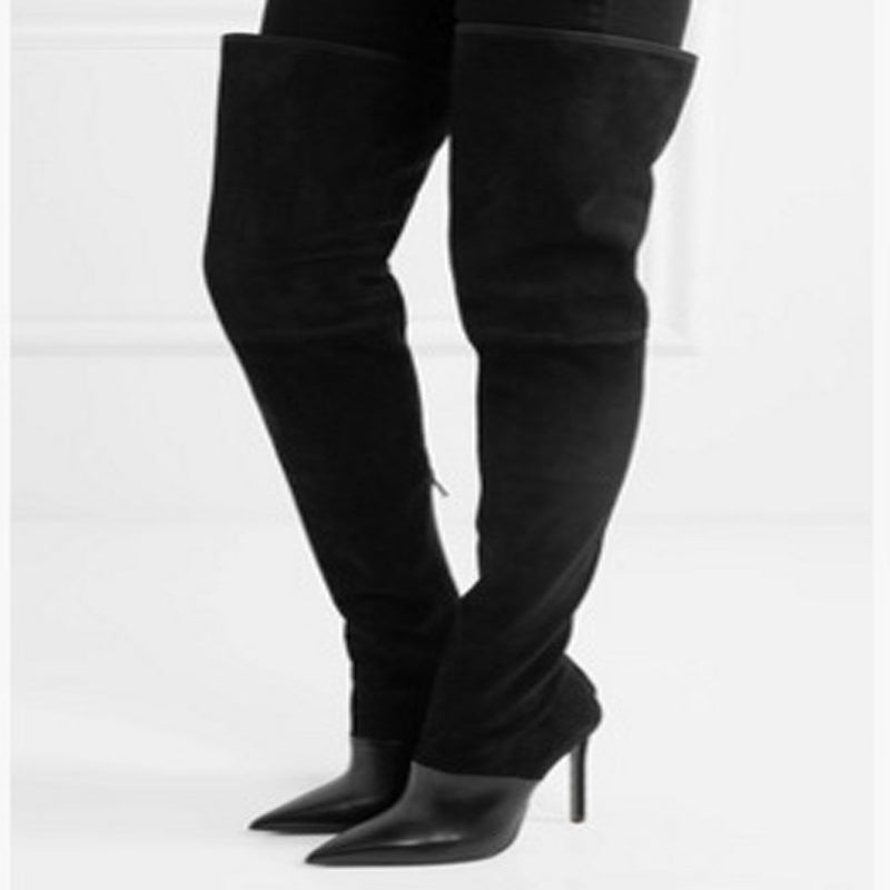 High Heel Stretch Suede Pointed Toe Thigh High Boots