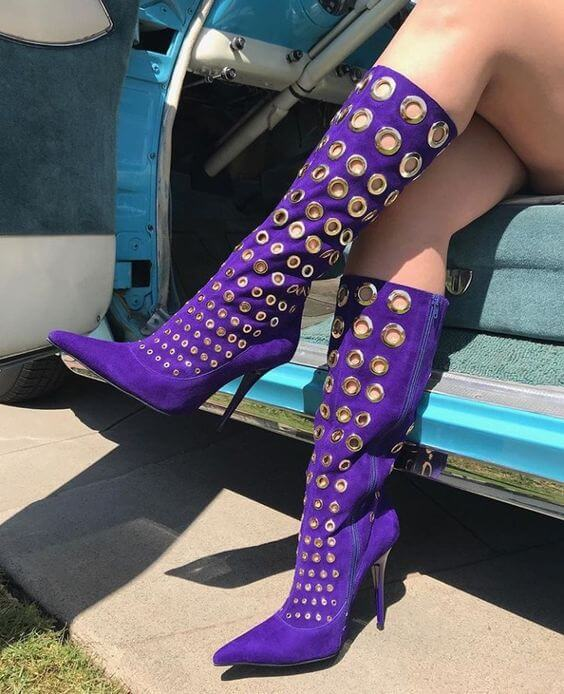 Purple Suede Cutout Point Toe Knee High Boots