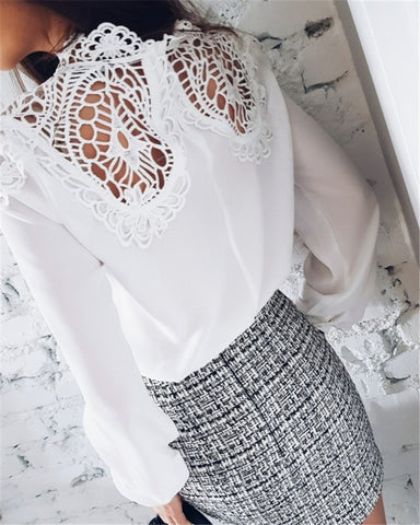 Lace Patchwork Hollow Out High Neck Long Sleeves Loose Blouse