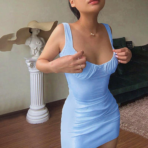 Sleeveless Skninny Soild Bodycon Short Dress