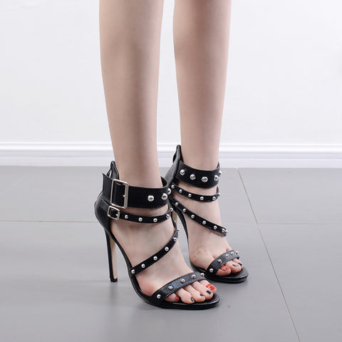 Rivets Straps Open Toe Stiletto High Heel Sandals Dress Shoes