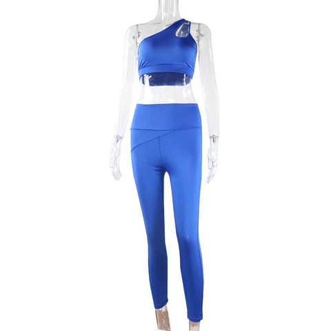 Yoga Blue One Shoulder Tank Top High Waist Skinny Two Pieces Set