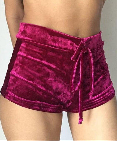 Candy Color Flannel Draped Draw String Sports Shorts