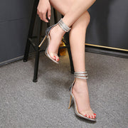 MetalChain Transparent Open Toe Ankle Wrap Stiletto High Heel Sandals