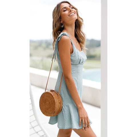 Pure Color Sleeveless Straps Short Falbala Dress