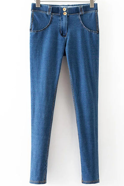 Patchwork Low Waist Solid Color Long Skinny Pants Jeans