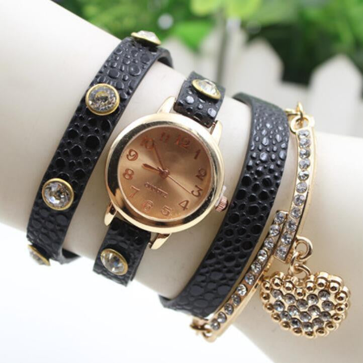 Crystal Heart PU Strap Wristwatch
