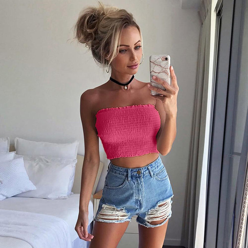 Smocking Short Crop Top