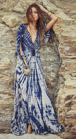 Deep V-neck Irregular Print Sexy Long Beach Dress - Meet Yours Fashion - 2