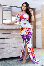 Off Shoulder Bodycon Backless Mermaid Print Irregular Long Dress
