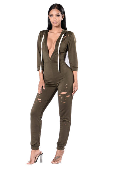 Deep V-neck Cut Out Hole Long Hooded Rope Jumpsuit