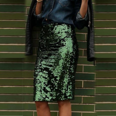 Fantasy Glossy Sequins Bodycon Pencil Knee-Length Skirt