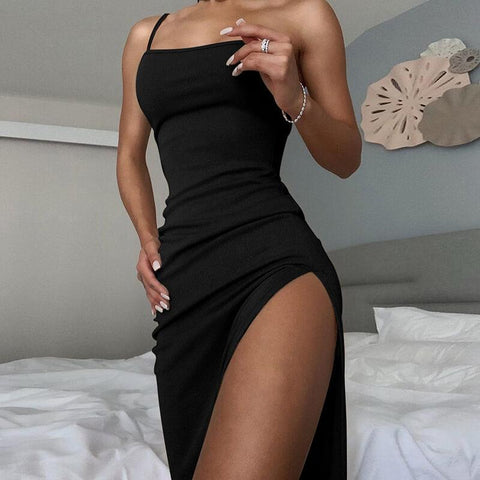 Ribbed Slits Tight Long Dress