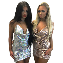 Deep V-neck Sequins Halter Backless Short Shinning Dress