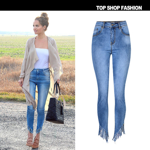 Tassels Packets High Waist Irregular Long Zipper Skinny Pants