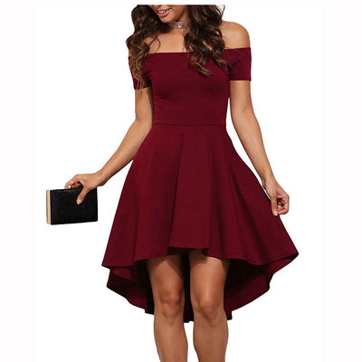 Off Shoulder Expansion Tail Short Dress