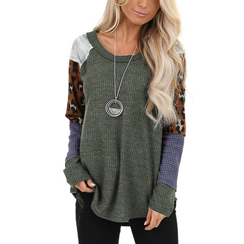 Patchwork Scoop Neck Loose Blouse