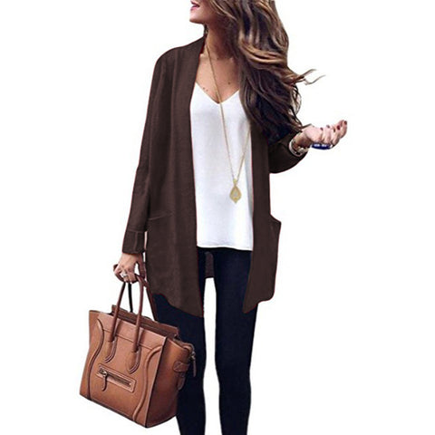 Solid Color Pockets Loose Open Cardigan