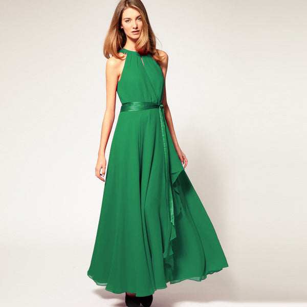 Chiffon Pure Color O-neck Irregular Sleeveless Long Dress - Meet Yours Fashion - 4