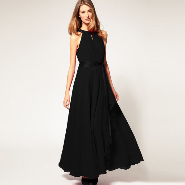 Chiffon Pure Color O-neck Irregular Sleeveless Long Dress - Meet Yours Fashion - 6
