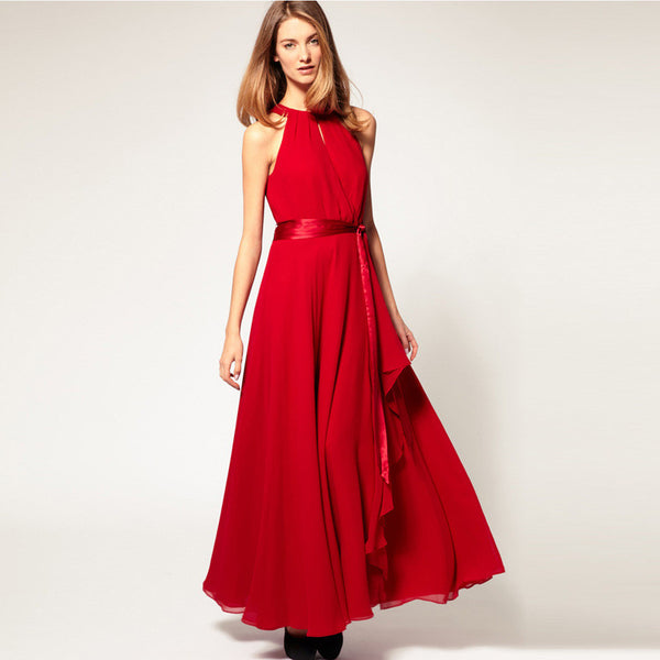 Chiffon Pure Color O-neck Irregular Sleeveless Long Dress - Meet Yours Fashion - 2