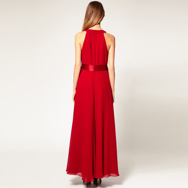 Chiffon Pure Color O-neck Irregular Sleeveless Long Dress - Meet Yours Fashion - 8
